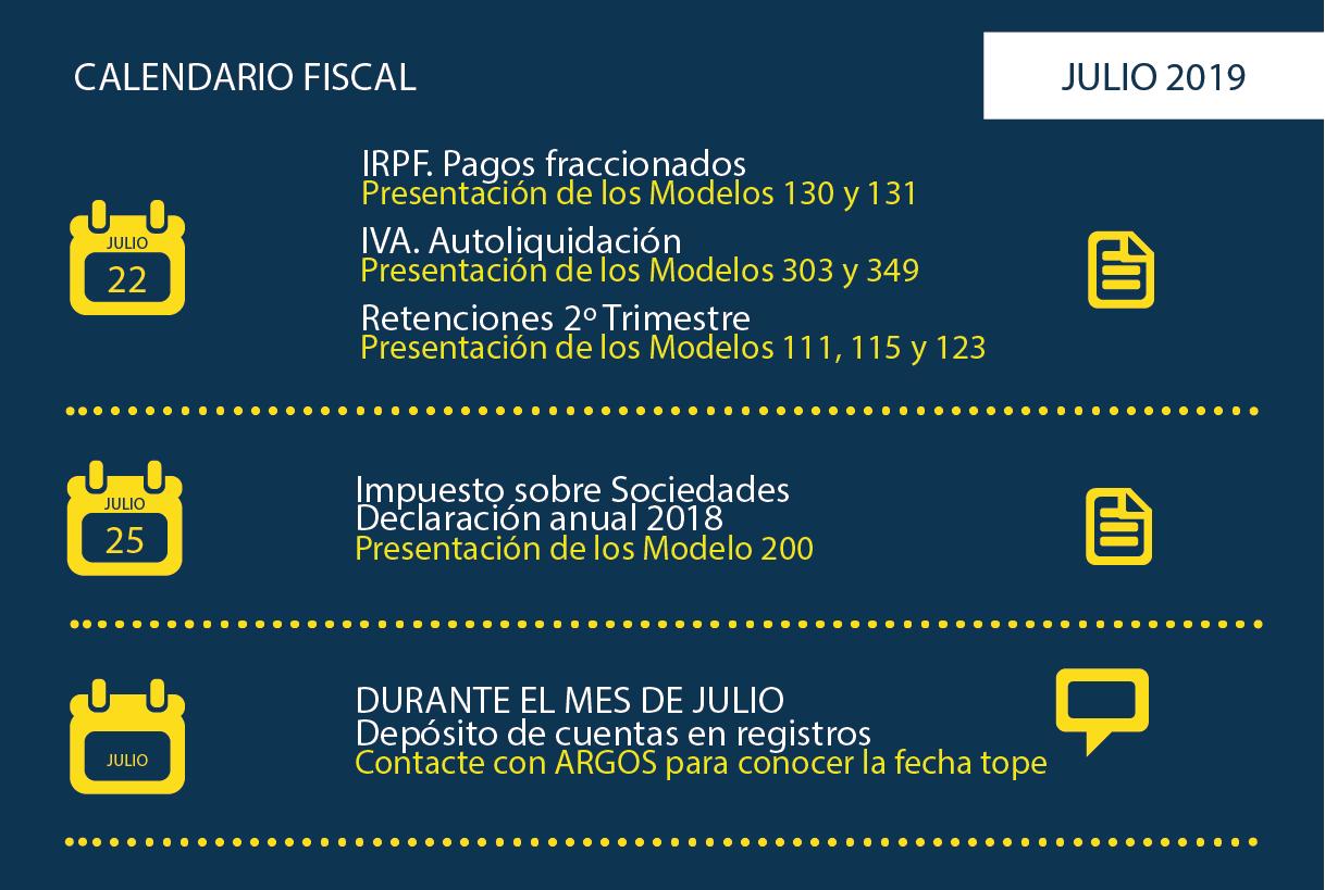 Calendario Fiscal Julio 2019
